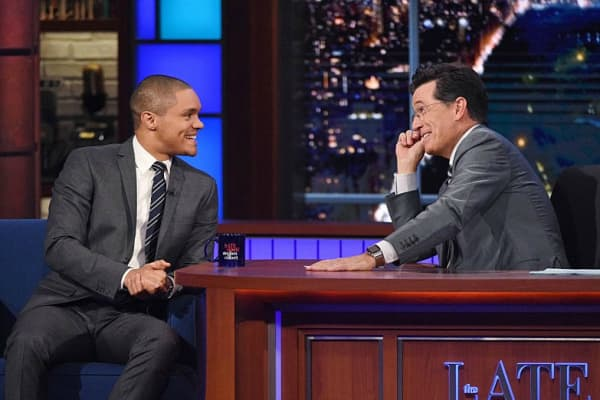 039;The Daily Show&#039 host Trevor Noah appears on 'The Late Show&#039 with Stephen Colbert