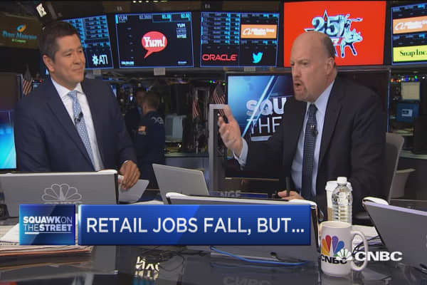 Cramer: Retail number in jobs report shows Amazon's grip is 'accelerating'