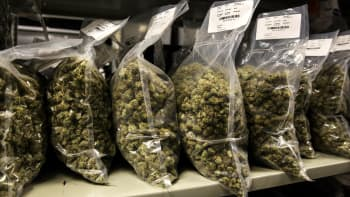 Packages of marijuana are seen on shelf before shipment at the Canopy Growth Corp.