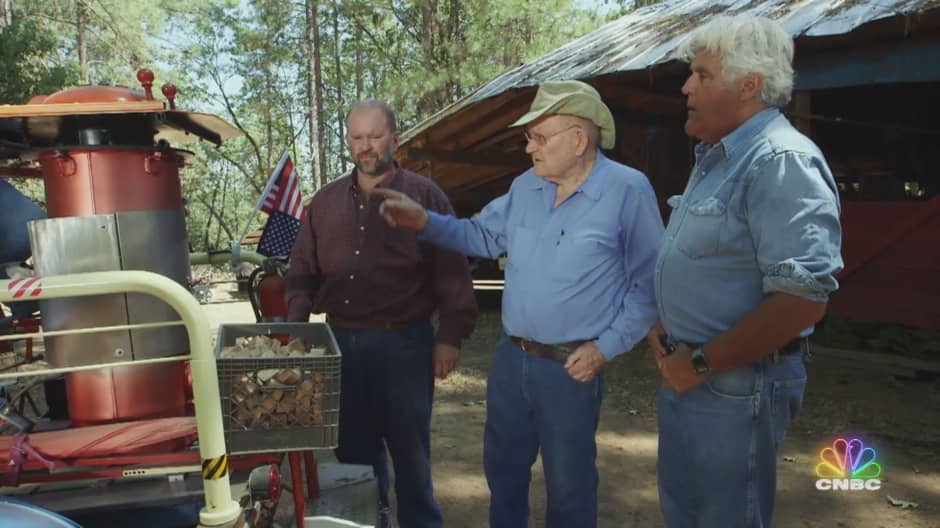 Jay Leno explores a vehicle that runs on wood and possibly even pine cones