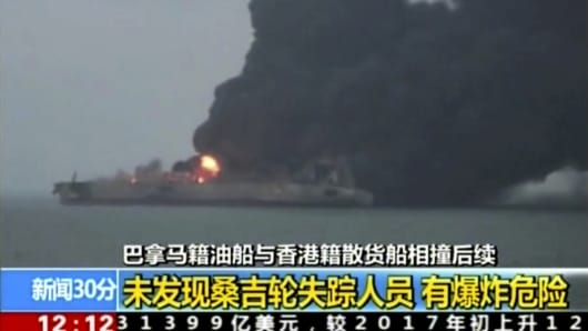 "Panama-registered tanker ""Sanchi"" is seen ablaze after a collision with a Hong Kong-registered freighter off China's eastern coast."