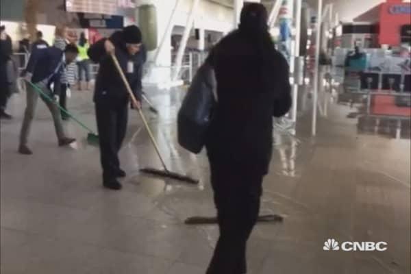 Frozen water pipe bursts, causing flooding at JFK Airport
