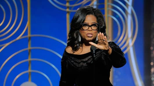 Oprah Winfrey accepts the 2018 Cecil B. DeMille Award speaks onstage during the 75th Annual Golden Globe Awards at The Beverly Hilton Hotel on January 7, 2018 in Beverly Hills, California.