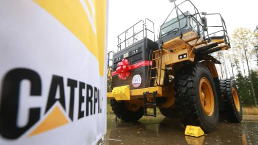 A ceremony to start manufacturing new CAT 777A haul trucks at the Caterpillar Tosno factory.