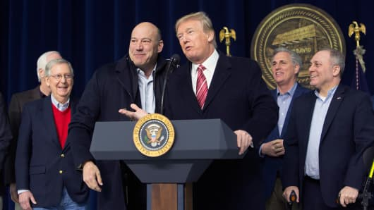 President Donald Trump and National Economic Council Director Gary Cohn affirm their support for each other at Camp David on January 6, 2018 in Thurmont, Maryland.