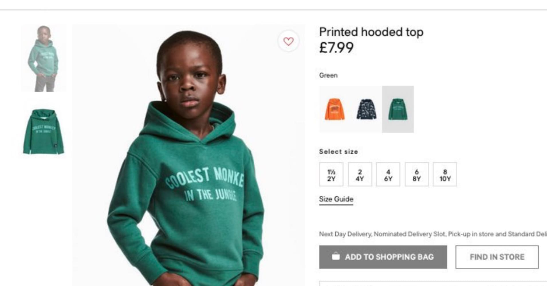 556ca28a H&M slammed as racist for 'monkey in the jungle' hoodie