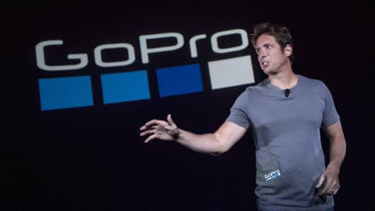 Nick Woodman, founder and chief executive officer of GoPro Inc., speaks during an event in San Francisco, California, U.S., on Thursday, Sept. 28, 2017.