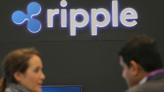 The logo of blockchain company Ripple is seen at the SIBOS banking and financial conference in Toronto, Ontario, Canada October 19, 2017.