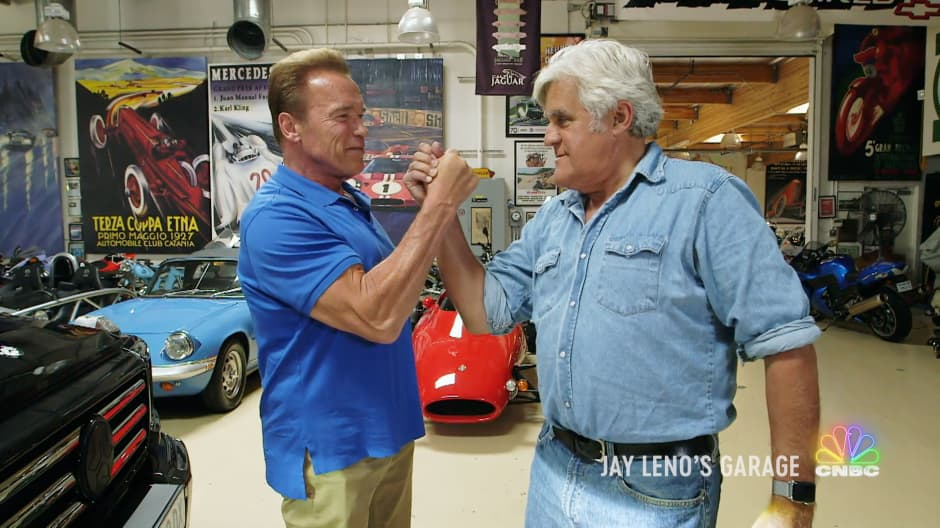 Arnold Schwarzenegger shows Jay Leno his one-of-a-kind electric Mercedes-Benz G-Wagen