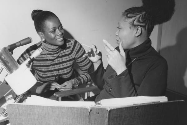 Cicely Tyson and Vy Higginsen during a radio show, January 4, 1974.