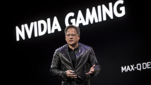 en-Hsun Huang, president and chief executive officer of Nvidia Corp., speaks during an event at the 2018 Consumer Electronics Show (CES) in Las Vegas, Nevada, U.S., on Sunday, Jan. 7, 2018.