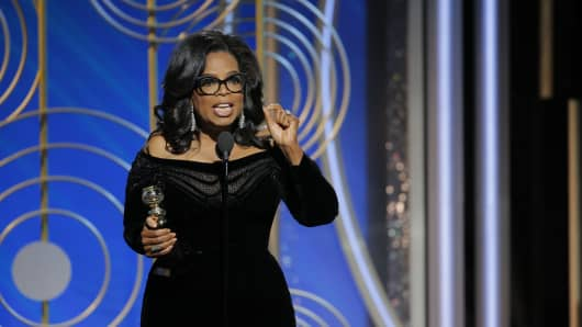 Oprah Winfrey speaks onstage during the Golden Globe Awards at The Beverly Hilton Hotel on January 7, 2018.
