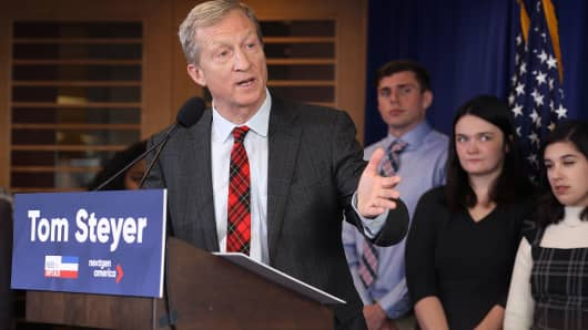 Hedge fund billionaire, Democratic mega-donor and environmentalist Tom Steyer holds a news conference regarding his political future and plans January 8, 2018 in Washington, DC.