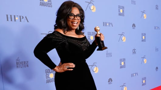 Oprah Winfrey, recipient of the Cecil B. DeMille Award, poses in the press room at the 75th Annual Golden Globe Awards held at the Beverly Hilton Hotel on January 7, 2018.