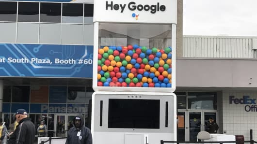 A gigantic gumball machine as part of Google's display at the 2018 CES.