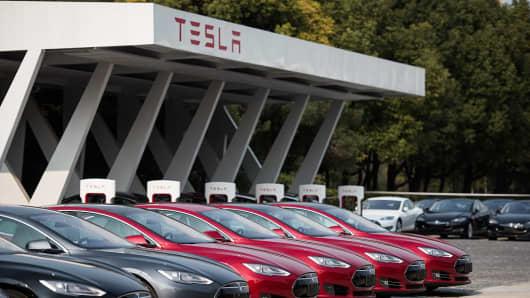 Tesla car dealership in Shanghai taken on March 17, 2015.