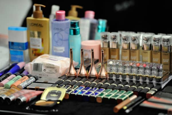 Details of make up products backstage prior Le Defile L'Oreal Paris as part of Paris Fashion Week Womenswear Spring/Summer 2018 at Avenue Des Champs Elysees on October 1, 2017