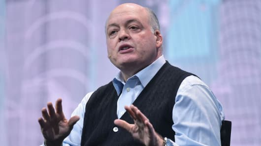 Ford Motor Company President and CEO Jim Hackett speaks during a keynote address during CES 2018 in Las Vegas on January 9, 2018.