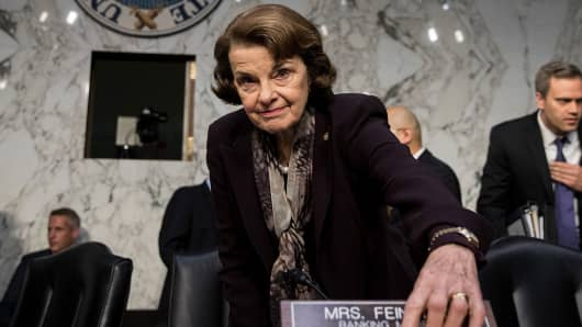Ranking member Sen. Dianne Feinstein arrives for a Senate Judiciary Committee