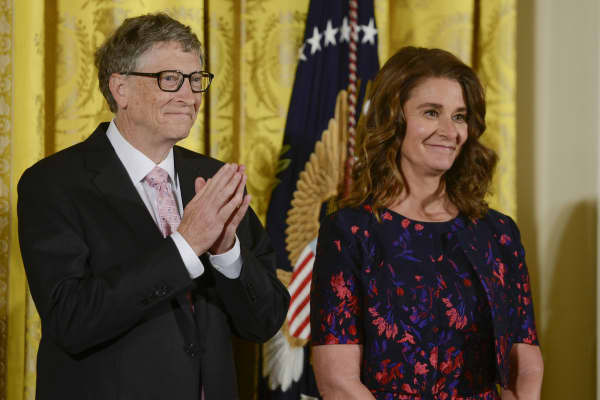 Bill and Melinda Gates are presented with the 2016 Presidential Medal Of Freedom by President Obama at White House on November 22, 2016 in Washington, DC.
