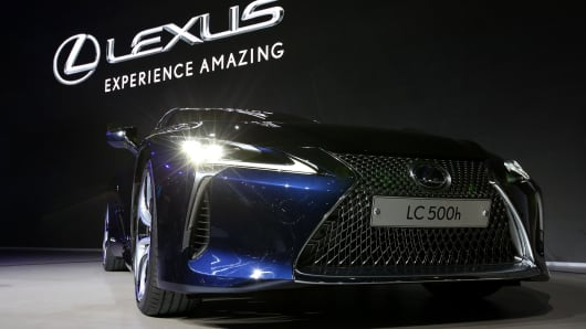 A Toyota Motor Corp. Lexus LC 500h hybrid vehicle stands on display during the press day of the Seoul Motor Show in Goyang, South Korea, on Thursday, March 30, 2017.