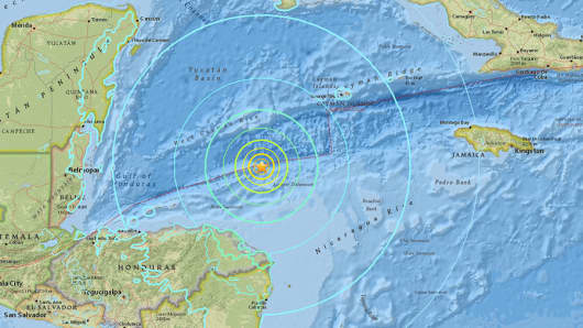 Location of the 7.8 magnitude earthquake that struck the Caribbean on Jan 9, 2018.