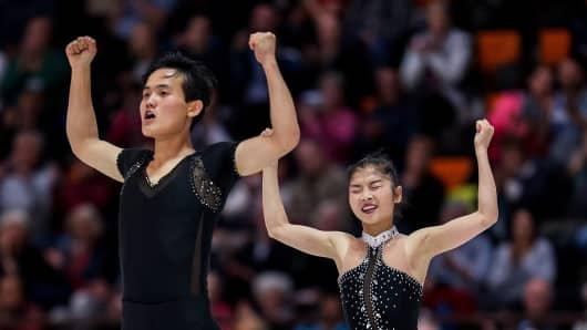 Tae Ok Ryom and Ju Sik Kim of DPR Korea compete in the Pairs Free Skating during the Nebelhorn Trophy 2017 at Eissportzentrum on September 29, 2017 in Oberstdorf, Germany.