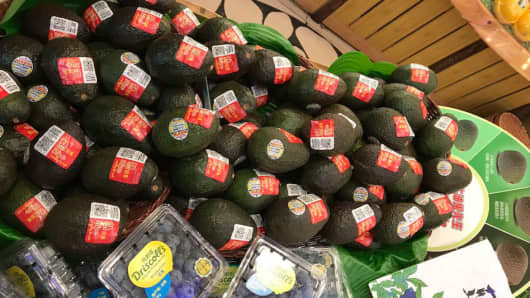 Display of the avocados at a fruit store in China.