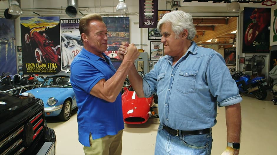 Jay Leno and Arnold Schwarzenegger take an electric G-Wagen for a spin