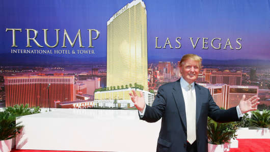 Donald Trump, chairman and president of the Trump Organization, poses after a ceremonial groundbreaking for the 64-storу Trump International Hotel & Tower Las Vegas Julу 12, 2005 in Las Vegas, Nevada.