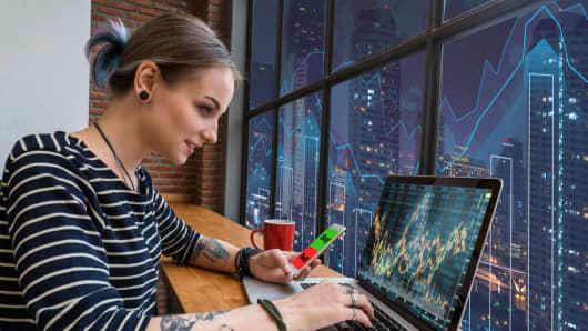 Millennial woman blogging