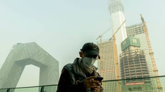 A severe air pollution attacks Beijing after the 19th National Congress of CPC on October 21, 2017.