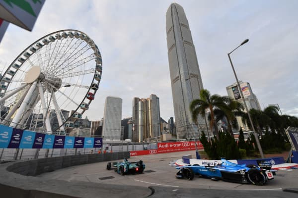 A Formula E ePrix race in Hong Kong's Central Harbourfront Circuit in December 2017