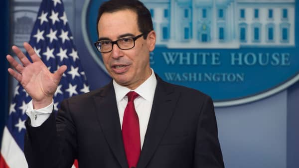 Secretary of Treasury Steven Mnuchin speaks during the daily press briefing at the White House in Washington, DC, January 11, 2018.