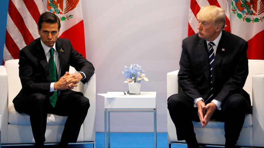 President Donald Trump meets Mexico's President Enrique Pena Nieto during the their bilateral meeting at the G20 summit in Hamburg, Germany July 7, 2017.
