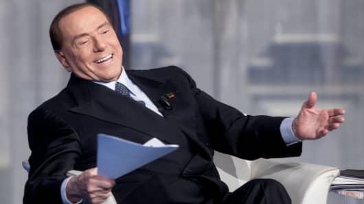Former Italian Prime Minister and leader of Forza Italia Party Silvio Berlusconi attends the debate show Porta a Porta at RAIÕs Broadcasting studios