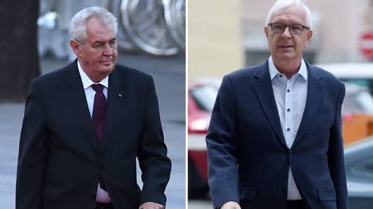 his combination created on January 9, 2018 of file pictures shows Czech President Milos Zeman (L, October 27, 2014 in Beijing) and former Czech Science Academy head and independant candidate for the Czech presidential election Jiri Drahos (November 3, 2017 in Prague)