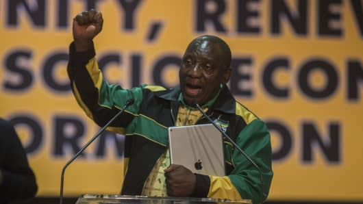 Cyril Ramaphosa gives his first speech as president of the African National Congress on December 20, 2017, in Soweto, South Africa.