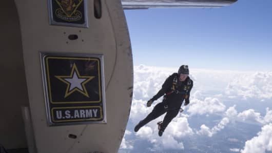 United States Army Parachute Team conducts jump over Washington D.C.