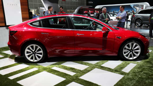 A TESLA Model 3 is shown at the Los Angeles Auto Show in Los Angeles, California, U.S., November 30, 2017.