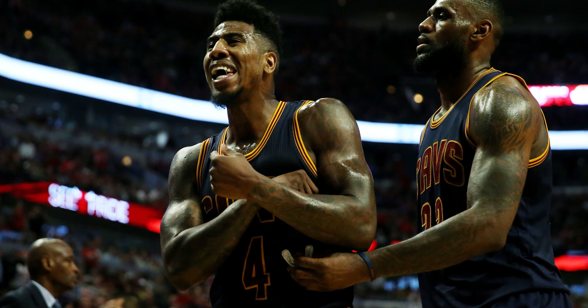 Iman Shumpert and LeBron James of the Cleveland Cavaliers