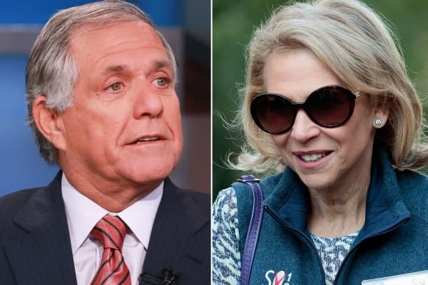Leslie Moonves, Chairman and CEO of CBS Corporation (l) and Shari Redstone Vice Chairperson of Viacom.