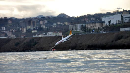 Passenger jet slides off track at Trabzon worldwide  airport