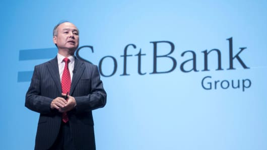 CEO of Softbank Group Masayoshi Son attending a news conference in Tokyo on February 8, 2017.