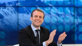 French President Emmanuel Macron gestures during a session at the World Economic Forum (WEF) annual meeting in Davos, 2016, when he was French finance minister.