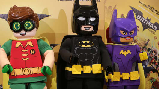 Toys at 'Batman Lego' photocall at Los Duques hotel on February 1, 2017 in Madrid, Spain.