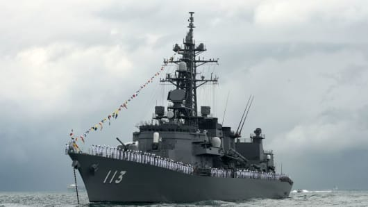 Japan's Navy Takanami class destroyers along the strait near Changi Naval Base in Singapore on May 15, 2017.