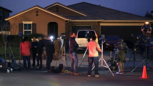 Media report from 160 Muir Woods Road in Perris, California, from where authorities rescued 13 malnourished children reportedly held captive by their parents, on January 15, 2018.