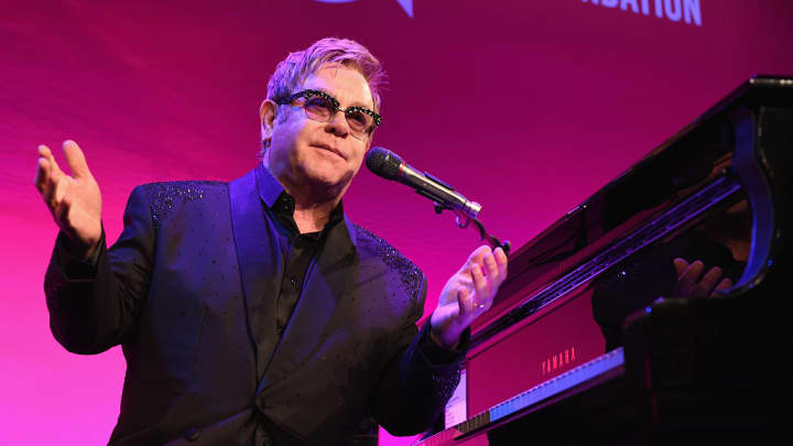 Founder Sir Elton John performs onstage at the Elton John AIDS Foundation's 13th Annual An Enduring Vision Benefit at Cipriani Wall Street on October 28, 2014 in New York City.