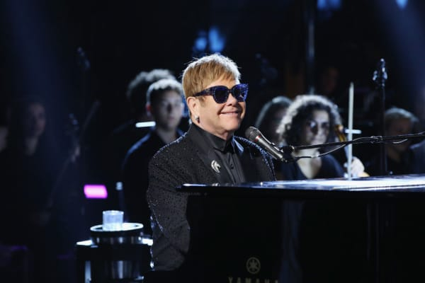 Elton John performs at the Andrea Bocelli show